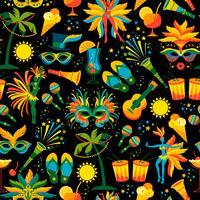 Brasiliansk karneval. Vektor sömlöst mönster.
