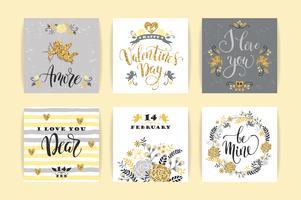 Conjunto de cartões de feliz dia dos namorados.