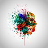 Colorful face made by spilled paint, vector illustration