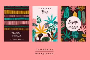 Set of abstract creative templates with tropical leaves.