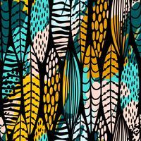 Padrão sem emenda tribal com folhas abstratas. Mão desenhar textura.