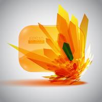 Blase der Sprache 3D mit einer orange Detonation.
