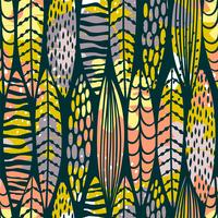 Tribal seamless pattern with abstract leaves. vector