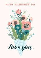 Illustration bukett blommor. Vektor designkoncept för Alla hjärtans dag