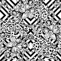 Eclectic fabric seamless pattern. Animal and geometric background with baroque ornament