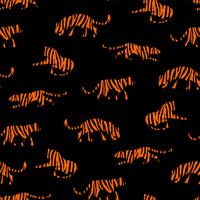 Sin fisuras patrón exótico con siluetas abstractas de tigres.
