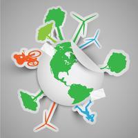Mondo adesivo con segni ecologici