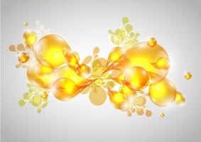 Colorful abstract drops in yellow, vector