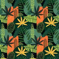 Modelo inconsútil abstracto con las hojas tropicales.