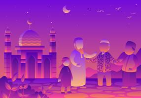 Islamische multikulturelle Gemeinschafts-Vektor-Illustration