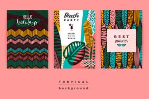 Set of abstract creative templates with tropical leaves. vector