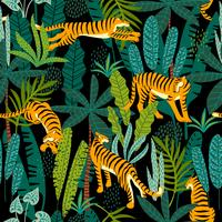 Seamless exotic pattern with tigers in the jungle.