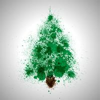 Christmas vector tree made by spilled paint splashes