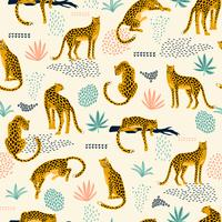 Vestor seamless pattern with leopards and abstract tropical leaves.