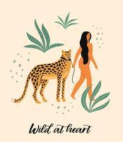 Sei wild. Vektorabbildung der Frau mit Leoparden.
