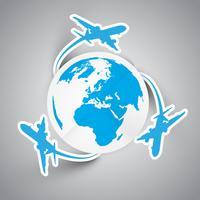 Aviões de papel de vetor e terra