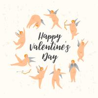 Vector set of cute cupids. Happy Valentine s Day concept.