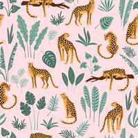 Padrão sem emenda de vestor com leopardos e folhas tropicais.
