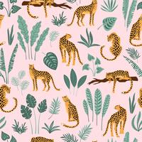 Vestor seamless pattern with leopards and tropical leaves.