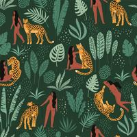 Vector naadloos patroon met vrouwen, luipaarden en tropische bladeren.