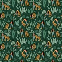 Vektor sömlöst mönster med kvinnor, leoparder och tropiska löv.