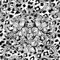 Eclectic fabric seamless pattern. Animal background with baroque ornament.