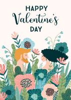 Romantic illustration with people. Vector design concept for Valentines Day and other users.