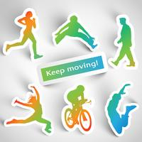 """Keep moving!"" sports stickers"