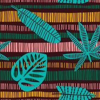 Abstract seamless pattern with tropical leaves.