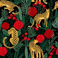 Seamless pattern with leopards and roses.