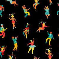 Mardi gras. Seamless pattern with funny dancing men and women in bright costumes.