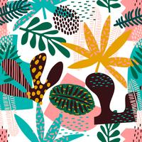 Abstrakt sömlöst mönster med tropiska löv.