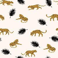 Seamless exotiskt mönster med abstrakta silhuetter av leoparder.