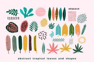 Set abstrakte tropische Blätter.