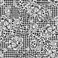 Eklektiskt tyg sömlöst mönster. Djur och pläterad bakgrund med barock prydnad.