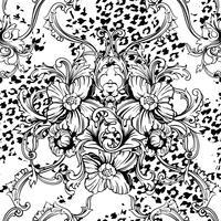 Tejido ecléctico sin patrón. Fondo animal con adorno barroco.