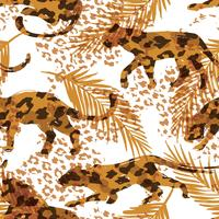 Seamless exotic pattern with palm leaves and silhouettes of animals vector