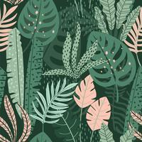 Abstrakt sömlöst mönster med tropiska löv. Hand rita textur.