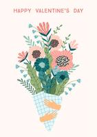 Illustration bouquet of flowers. Vector design concept for Valentines Day
