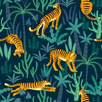 Seamless exotic pattern with tigers in the jungle. vector