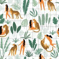 Patrón transparente de vector con mujeres, leopardos y hojas tropicales.