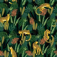 Modello senza cuciture di Vestor con leopardi e foglie tropicali.