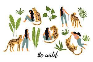 Seja selvagem. Ilustrações do vetor da mulher com leopardo e as folhas tropicais.