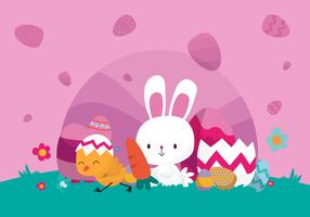 Cute Bunny Celebrate Easter Day Vector Illustration