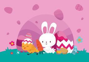 Lindo conejito celebra el día de Pascua ilustración vectorial