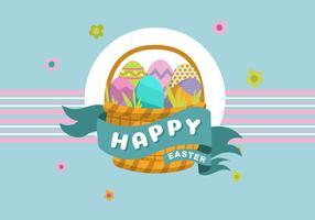 Basket Full of Easter Egg Vector background Illustration