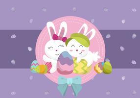 Lindo conejito y huevo en el día de Pascua fondo Vector