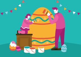 Lycklig familj firar påskdagen vektor illustration