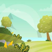 Platte moderne lente landschap Vector Wallpaper