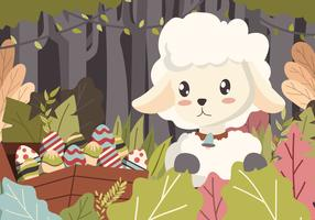 Happy Sheep Hunting Easter Eggs Vector Background Illustration
